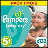 Pampers - Baby Dry - Couches Taille5+ (13-25kg/Junior+) - Pack Economique1 mois de consommation (x132couches)