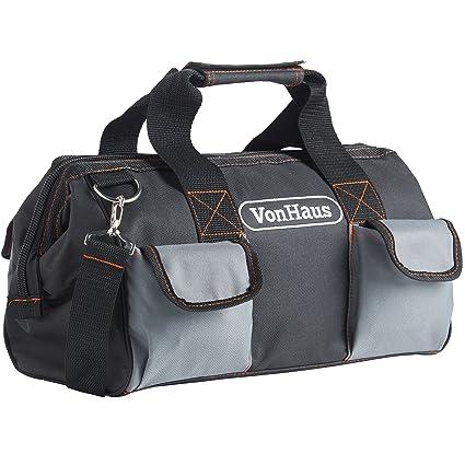 VonHaus - Bolsa de herramientas grande con correas y correa para hombro, bolsillos internos y externos 39 x 20 x 26 cm
