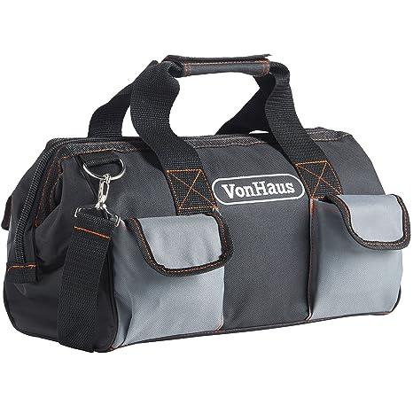 VonHaus - Bolsa de herramientas grande con correas y correa para hombro, bolsillos internos y externos 39 x 20 x 26 cm: Amazon.es: Bricolaje y herramientas