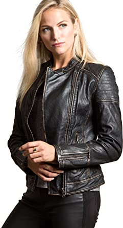 b4ff8b12a55 Image Unavailable. Image not available for. Color: Overland Sheepskin Co Chelsea  Lambskin Leather Moto Jacket