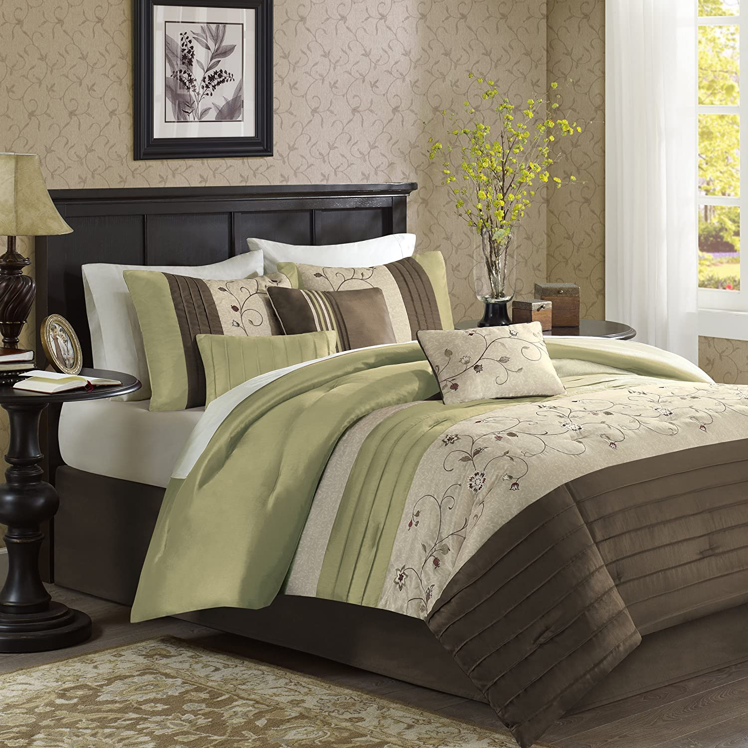 amazoncom madison park serene  piece comforter set queen  - amazoncom madison park serene  piece comforter set queen green home kitchen