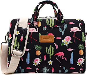 Canvaslife Flamingos Pattern Waterproof Laptop Shoulder Messenger Bag Laptop Computer Briefcases with Rebound Bubble Protection for 15 inch and 15.6 inch Laptop