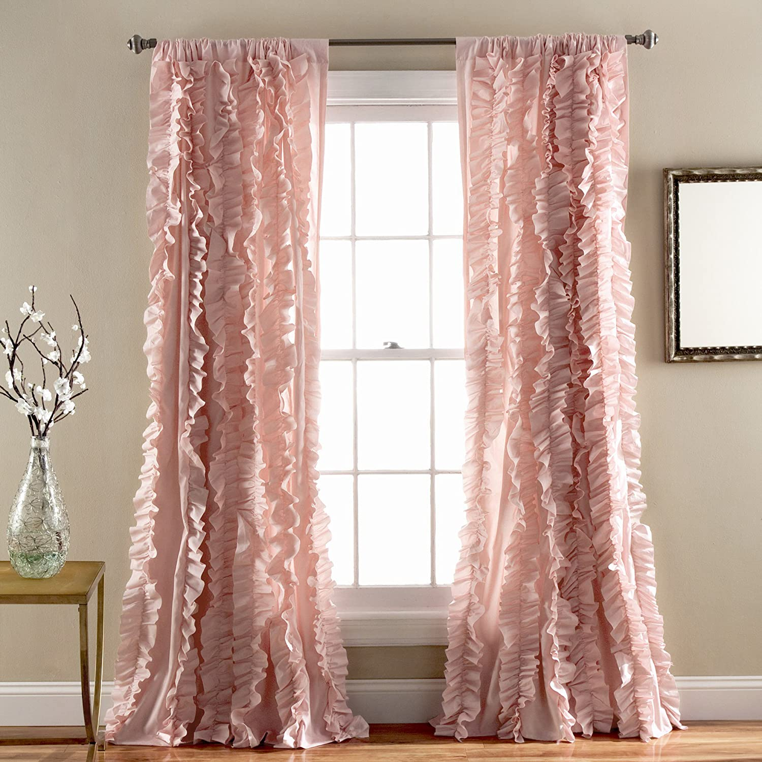 Amazon Lush Decor Belle Window Curtain Panel 84 X 54 Pink Home Kitchen