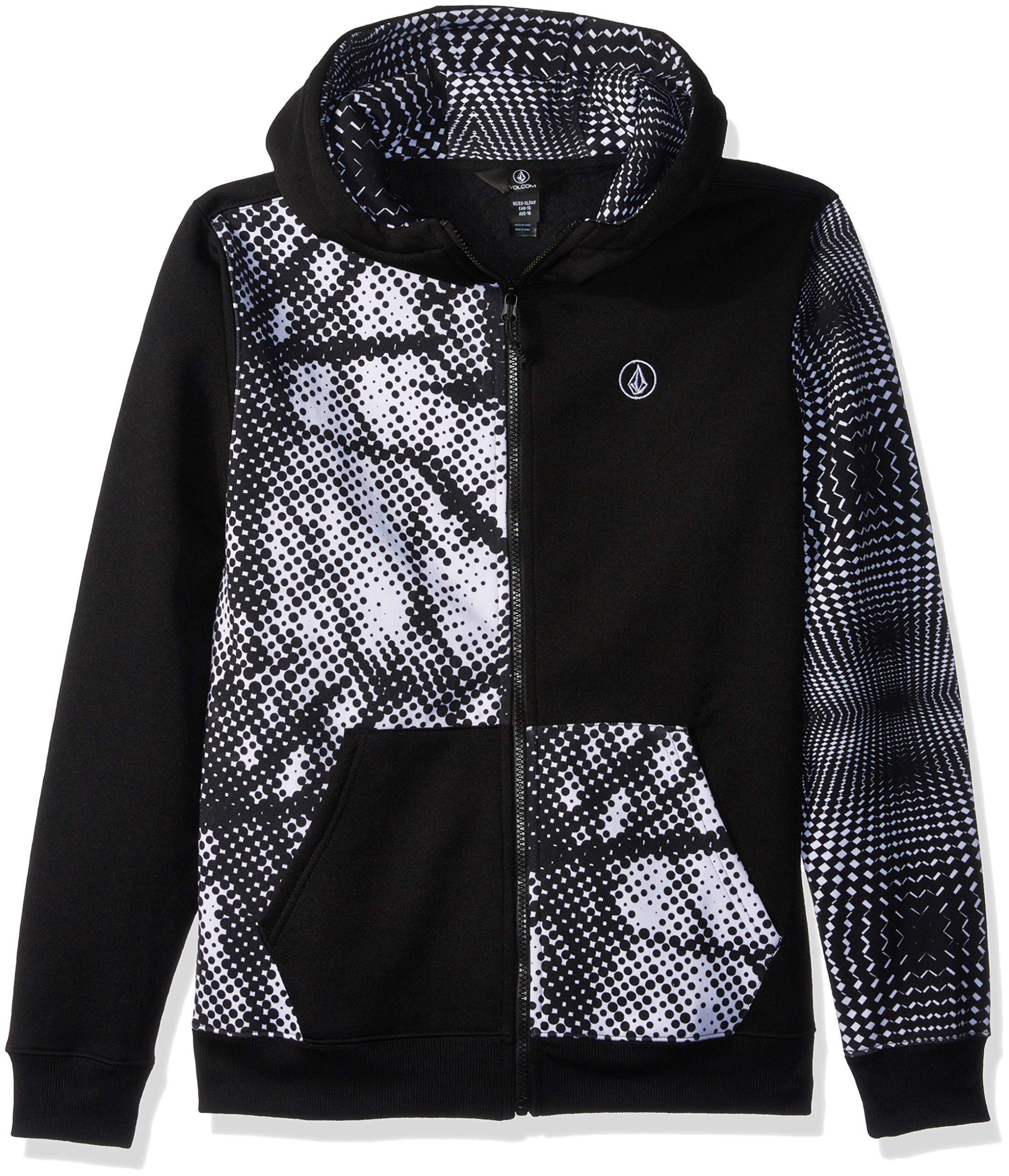 Volcom Boys' Big Grohman 280g Hydrophobic Hooded Fleece Sweatshirt, Black/White, Extra Large