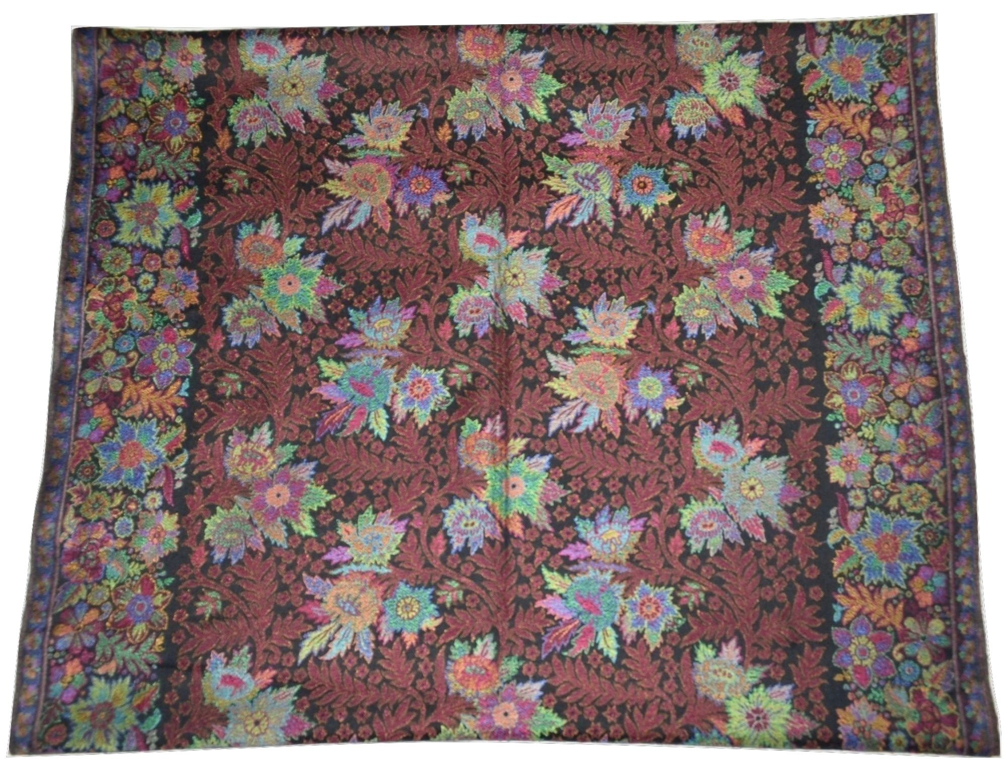 100% Pure AUTHENTIC Handmade Pashmina Scarf with Multicolor Floral KANI work. X1537