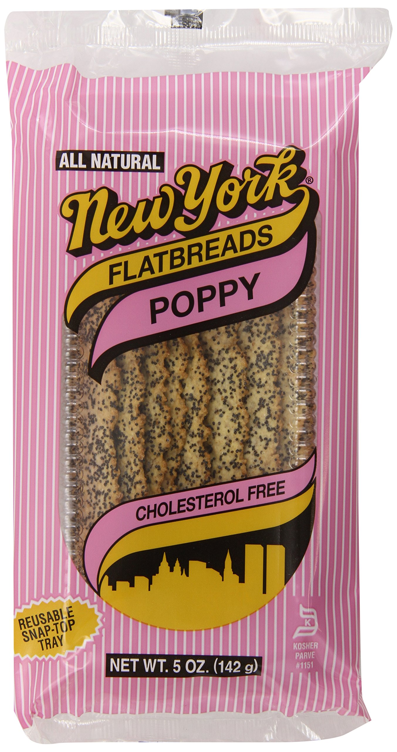 New York All Natural Flatbreads, Poppy, 5 Ounce (Pack of 12)