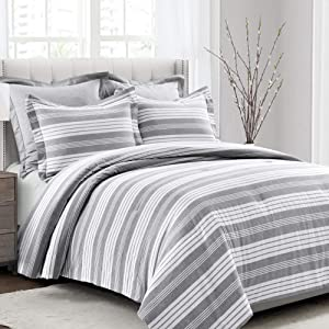 Lush Decor Gray and White Farmhouse Recycled Yarn-Dyed Cotton Stripe 5-Piece Comforter Set (King)