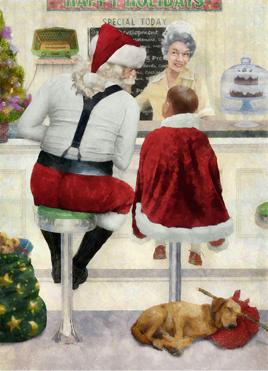 Amazon.com : Santa\'s Diner - Norman Rockwell The Runaway Art Parody ...