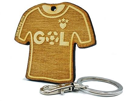 LIKE-TAG® Fútbol GOL camiseta llavero original de madera grabado regalo para día del