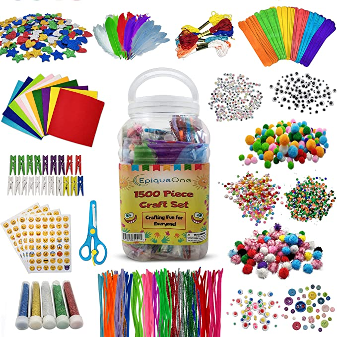 Super Arts and Crafts Supplies Warehouse Funkidz Preschool Craft Kit for Kids Creativity Includes 3 Layers 1500 Crafts Premium Materials Kit Suitable to Class Activity for Boys and Girls Ages 6+