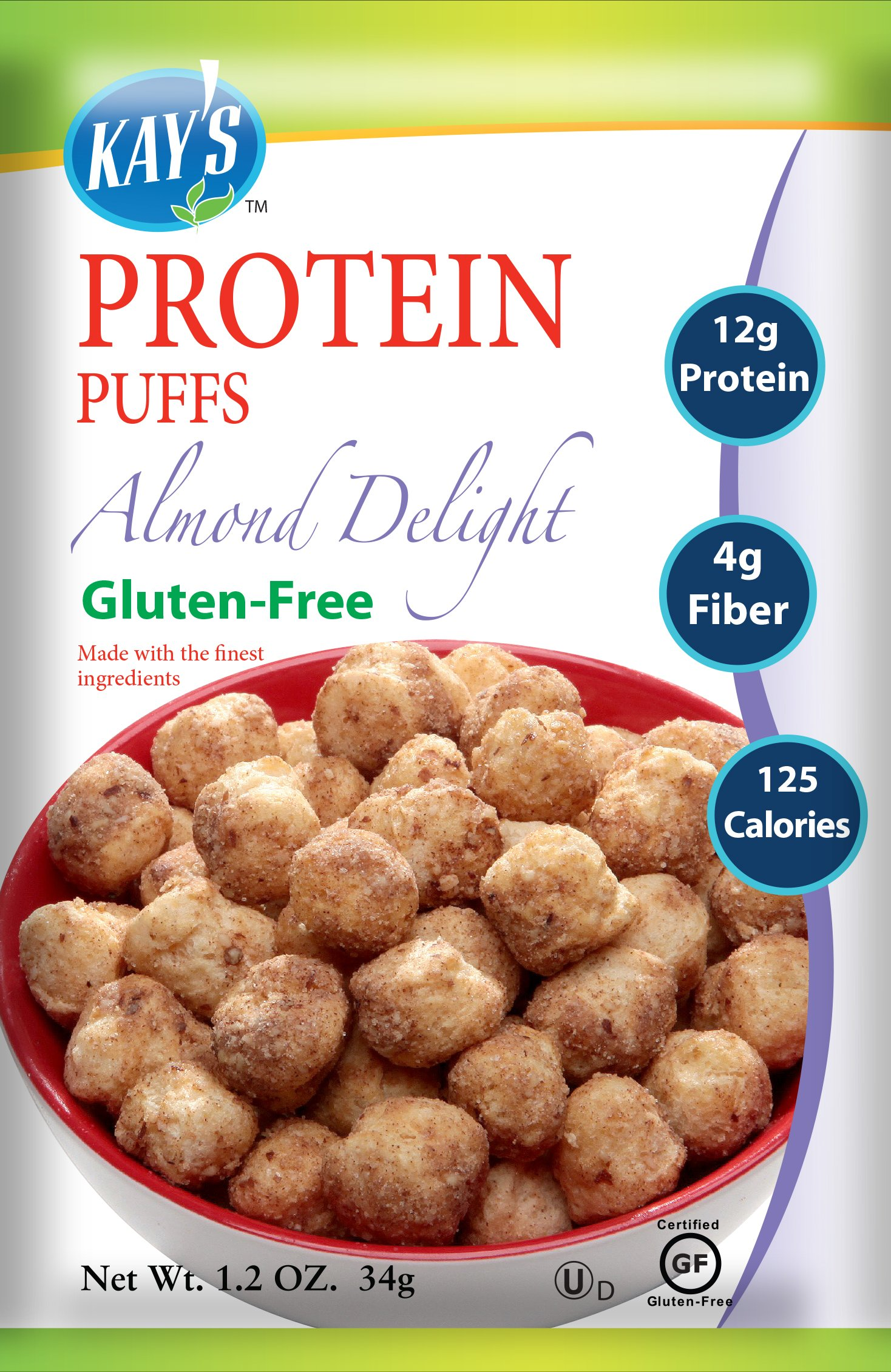Kay's Naturals Protein Puffs, Almond Delight, Gluten-Free, 1.2 Ounce (Pack of 6)