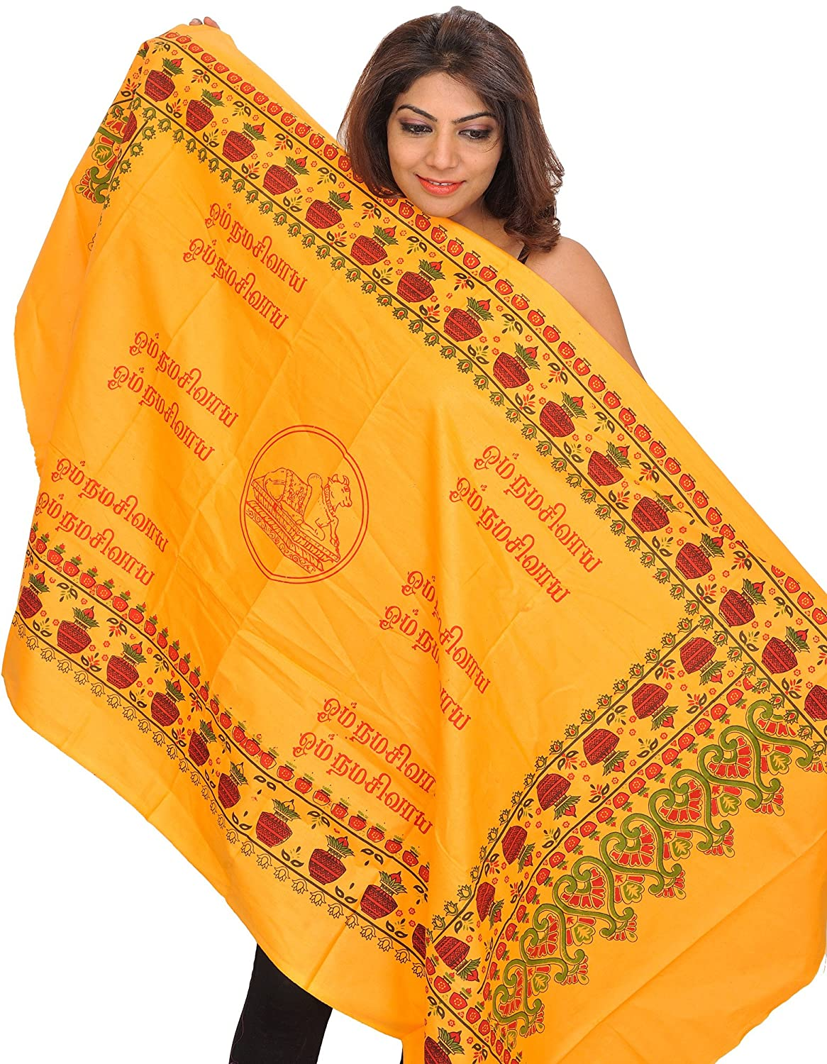 Exotic India Marigold Om Shakti Prayer Shawl from Tamil Nadu with Print - Orange