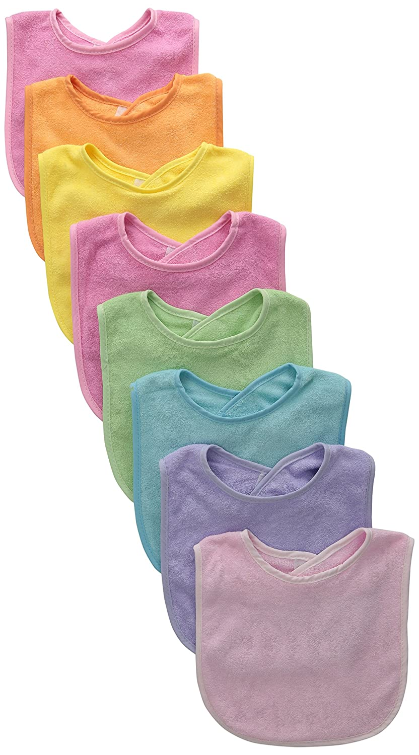 Neat Solutions 8 Pack Multi-Color Solid Knit Terry Feeder Bib, Girl FB808G