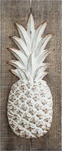Creative Co-op Wood Embossed Metal Pineapple Wall D cor