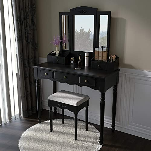Vanity Stool Set, Make Up Table with 5 Drawers,Tri-Folding 3 Mirrors, Cushioned Stool Easy Assemble Black