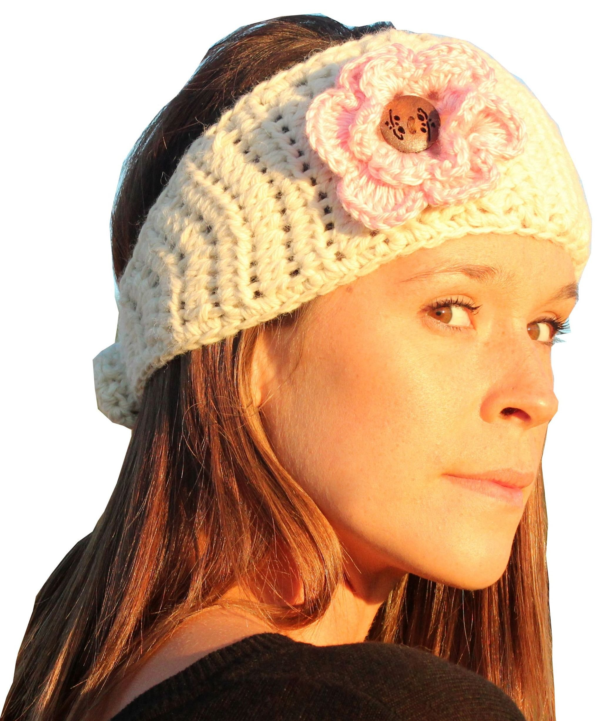 Alpaca Crochet Headband with Flower (White with Pink Flower)