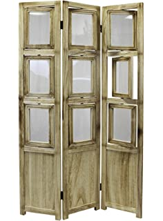 ehemco 3 panel folding photo screenroom divider in natural oiled vintage finish