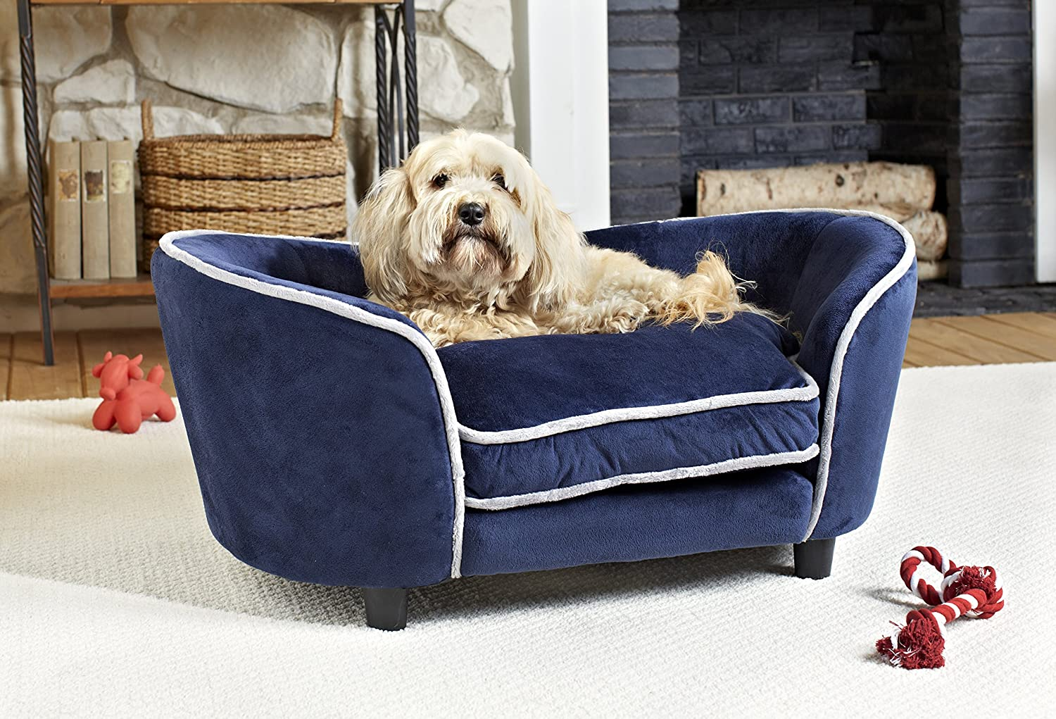 Navybluee LargeWohnDirect Designer Pet Sofa Bed for Dogs & Cats   Durable, Robust & Easy to Clean   Comfortable Soft Cushion for Your Dog and Practical Toy Storage Bag for Toys   64x45x40cm