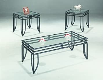 High Quality Coaster 3 Piece Occasional Table Set With Black Glass Top
