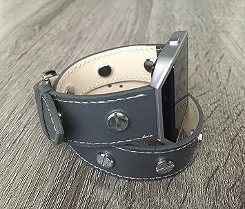 Double Wrap pulsera de piel vegana gris para Fitbit Blaze Smart Fitness correa de reloj, ...