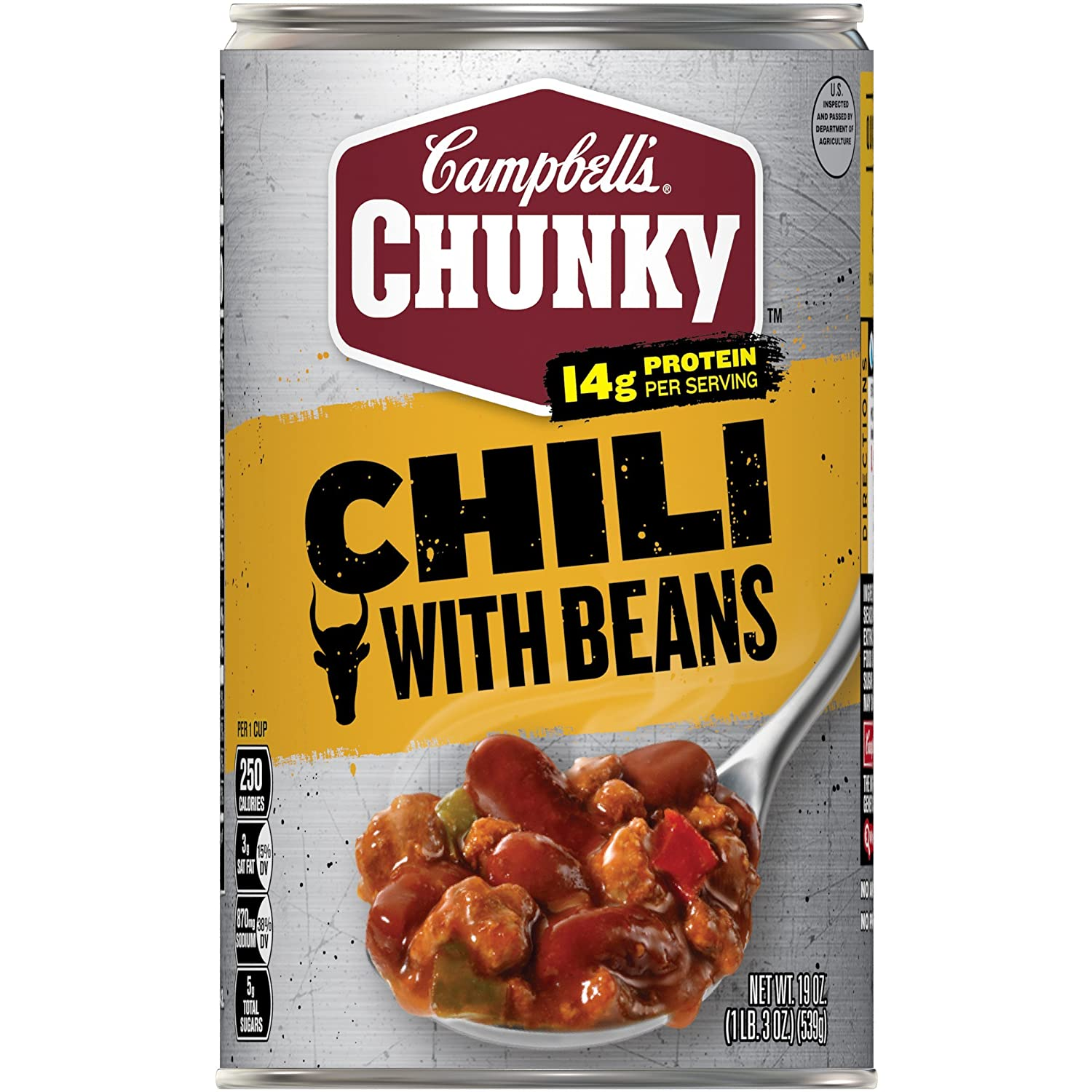 Campbell S Chunky Chili With Beans 19 Oz Can Pack Of 12 Chili Soups Grocery Gourmet Food