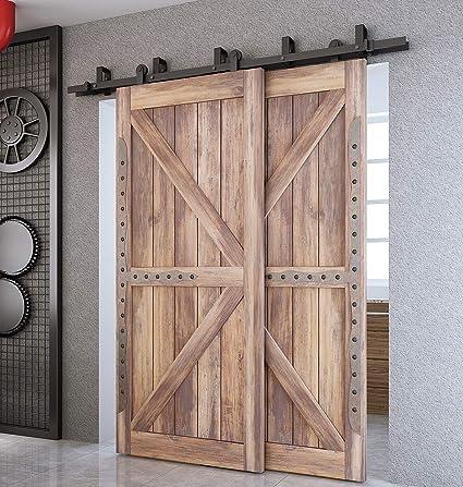 Home Doors, Door Parts & Accessories 2PCS Set 4M Sliding Barn Wood Door Hardware Rail Track Steel Slider Closet Kit