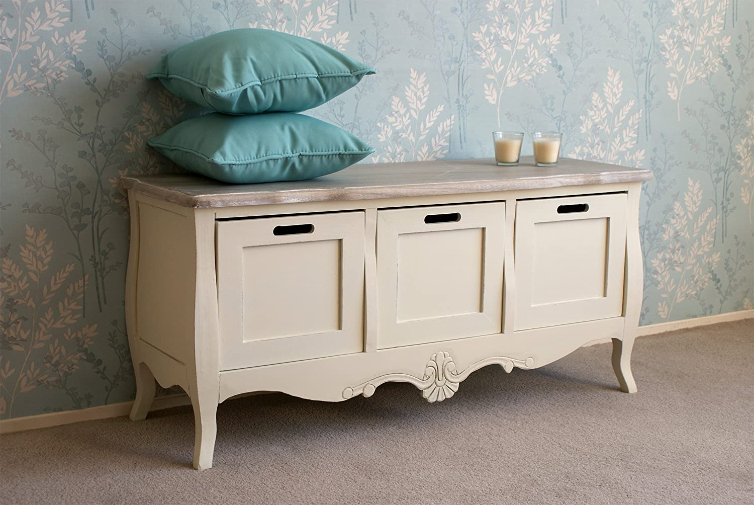 Delightful Casamoré Devon 3 Drawer Storage Bench With A French Shabby Chic Look   FREE  DELIVERY: Amazon.co.uk: Kitchen U0026 Home