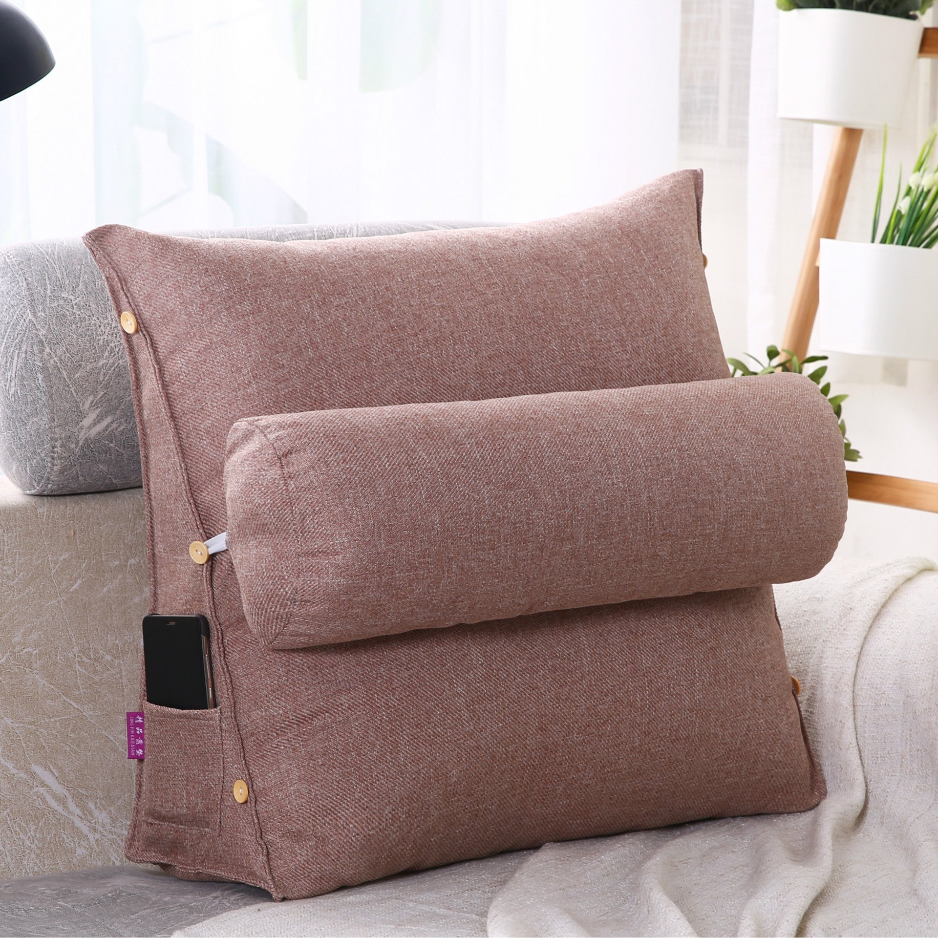 LUOTIANLANG Office sofa cushion pillow waist pillow for pregnant women Home Furnishing ornaments triangle comfortable cushion,Red bean paste,50x180x20cm