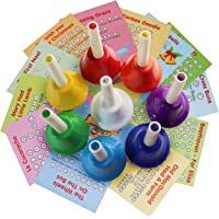 Musical HandBells For Children, Adult, Seniors 8 Note Color-Coded Diatonic Metal Hand Bells Sheet Music Songs included