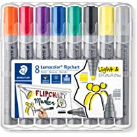 STAEDTLER 356 SWP8 Lumocolor flipchart markery, pudełko na biurko w 8 różnych kolorach, końcówka kulowa i końcówka…