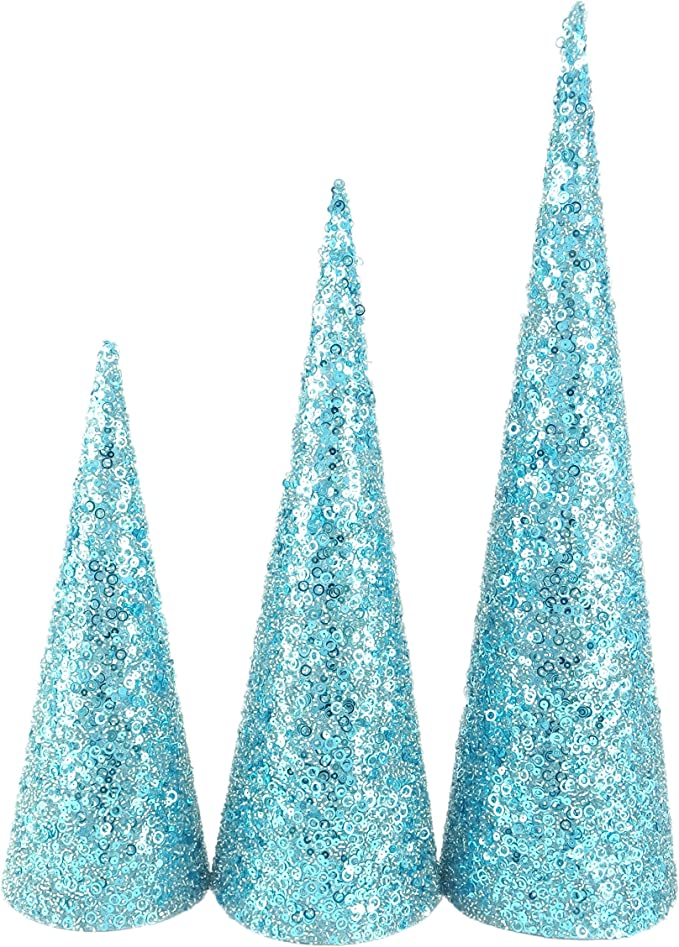 Amazon Com Christmas Concepts Set Of 3 Various Size Christmas Cone Trees Decorations Sequins Beads Ice Blue Home Kitchen
