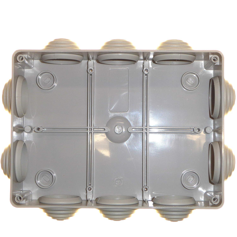 Caja de conexiones impermeable de 190 mm con arandelas IP56 para iluminaci/ón al aire libre con cable de conexi/ón 190 x 140 x 70