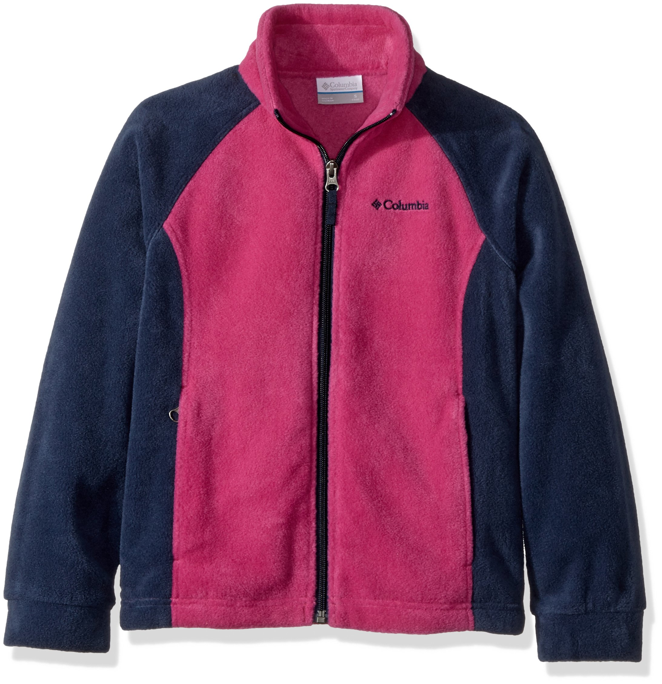 Columbia Little Girls' Benton Springs Fleece Jacket, Deep Blush, Collegiate Navy, 4T