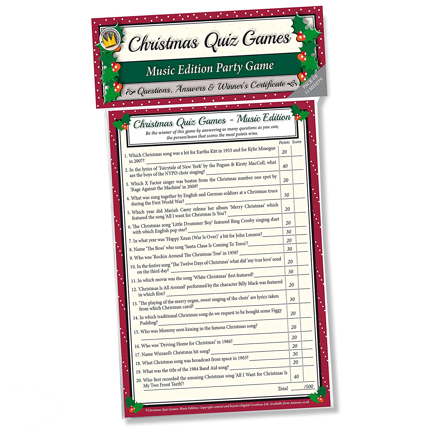 CHRISTMAS QUIZ GAMES: MUSIC EDITION PARTY GAME for Family, Office ...