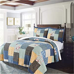 """Kasentex Contemporary Multi-Print Quilt – 100% Cotton, Embroidery Square Patch Design, Full/Queen 90x96"""", Printed Multi-Blue"""