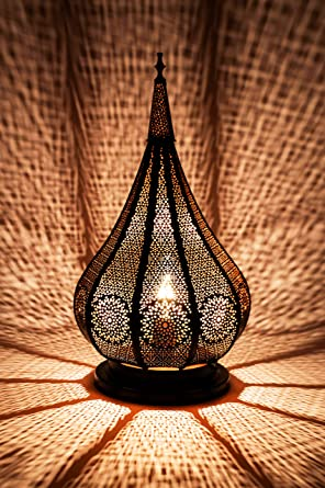 Lámpara de mesa oriental Kais Negro 38cm de metal -Marruecos ...