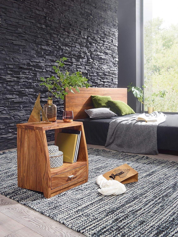 FineBuy Nachttisch Massiv-Holz Sheesham Nacht-Kommode 53 cm mit mit mit 1 Schublade und Ablage Nachtschrank Landhaus-Stil Echt-Holz Nachtkästchen dunkel-braun Nacht-Konsole Natur-Produkt Schlafzimmer-Möbel 6946d6