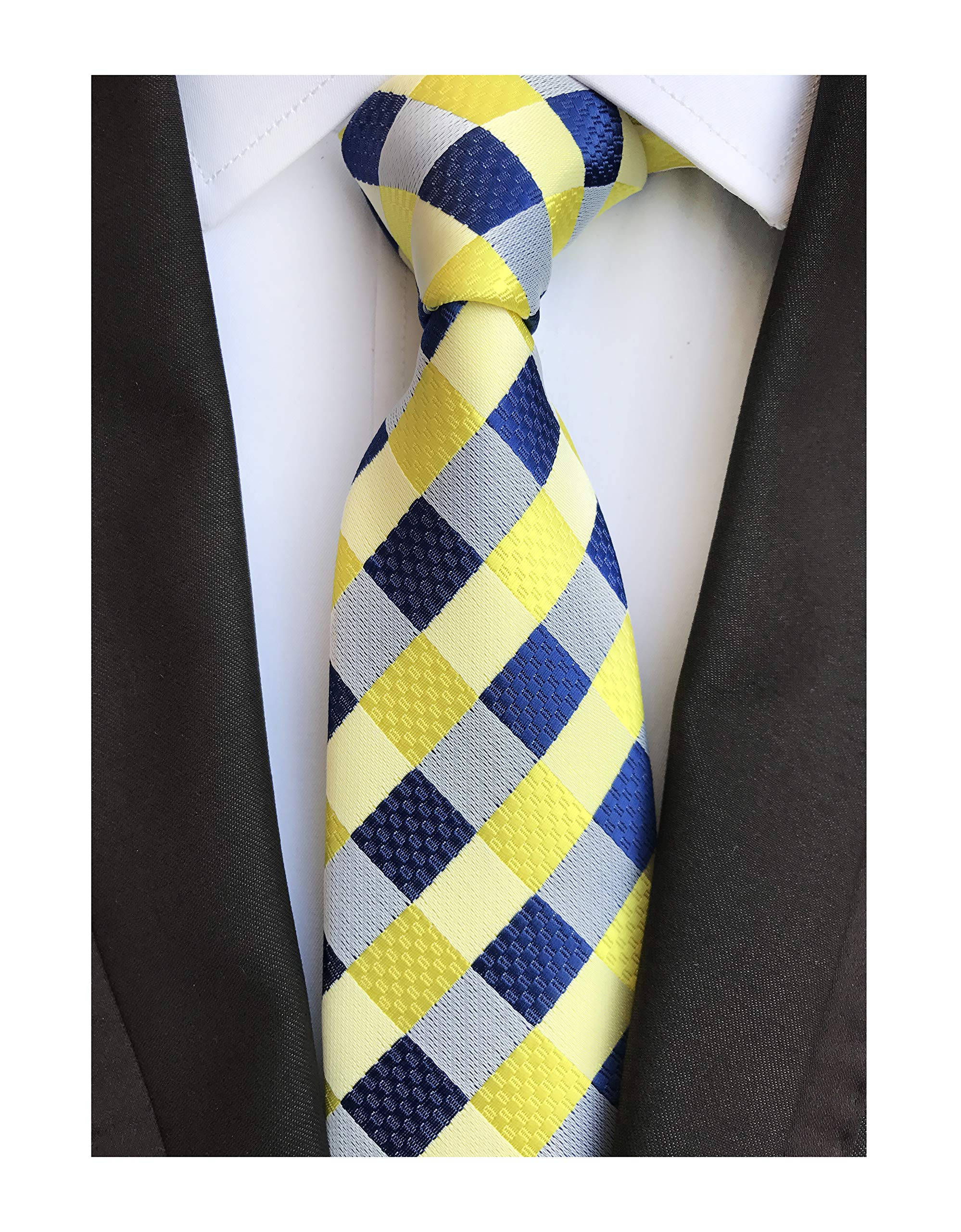 Men's Yellow Blue Check Jacquard Silk Tie Student Uniform Working Youth Neckties