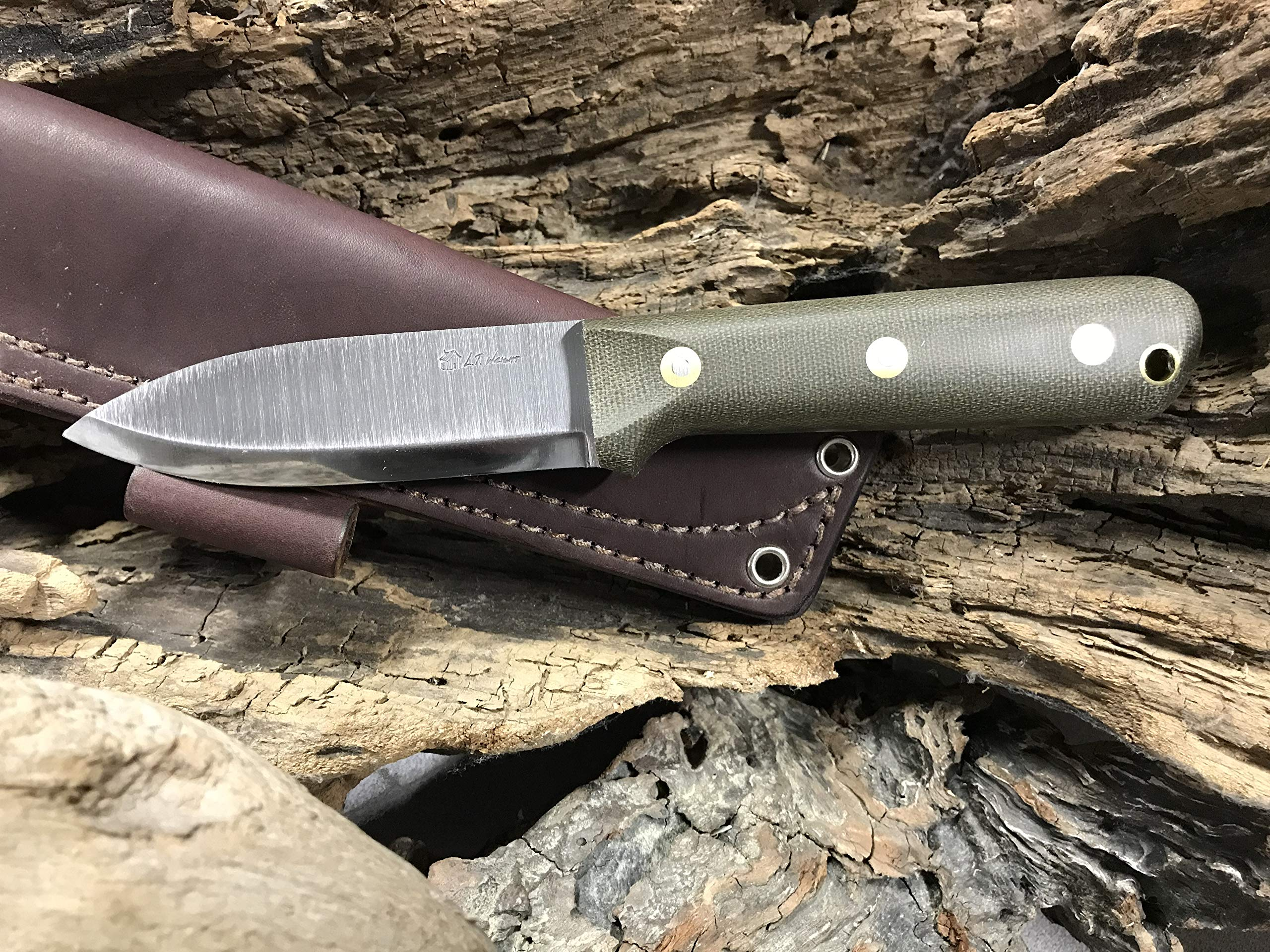 L.T. Wright Handcrafted Knives Genesis w/Scandi Grind, A2 Steel (Green) by L.T. Wright Handcrafted Knives (Image #6)