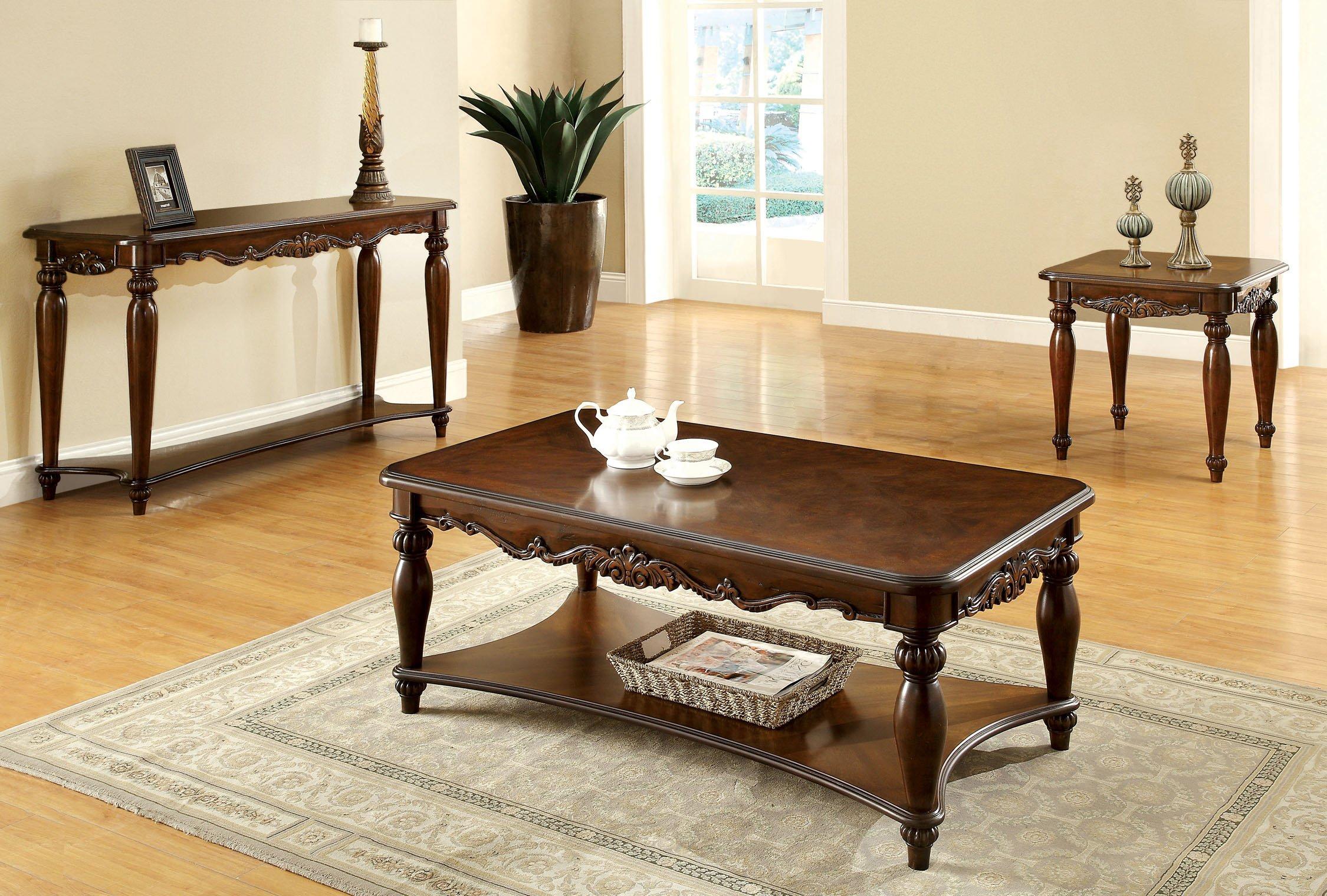 Furniture of America 3-Piece Trenton Table Set, Cherry Finish