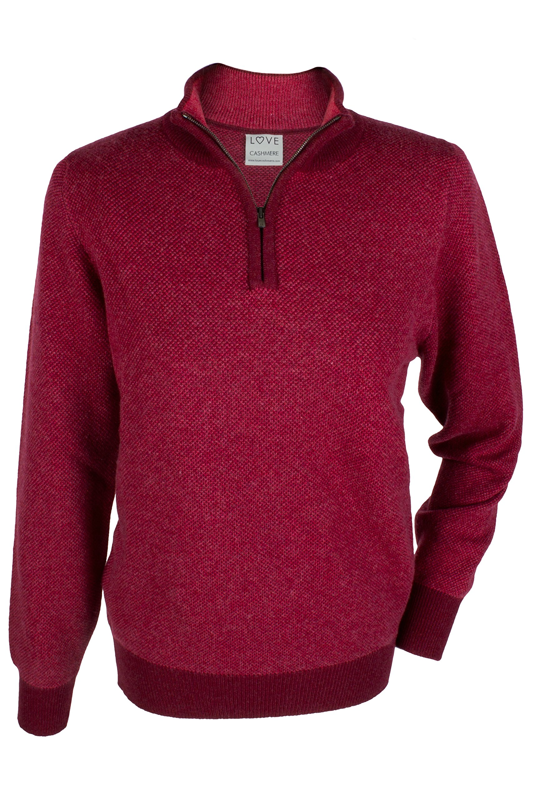 Mens 100% Cashmere Zip Neck Sweater - Raspberry Red Mix - made in Scotland by Love Cashmere