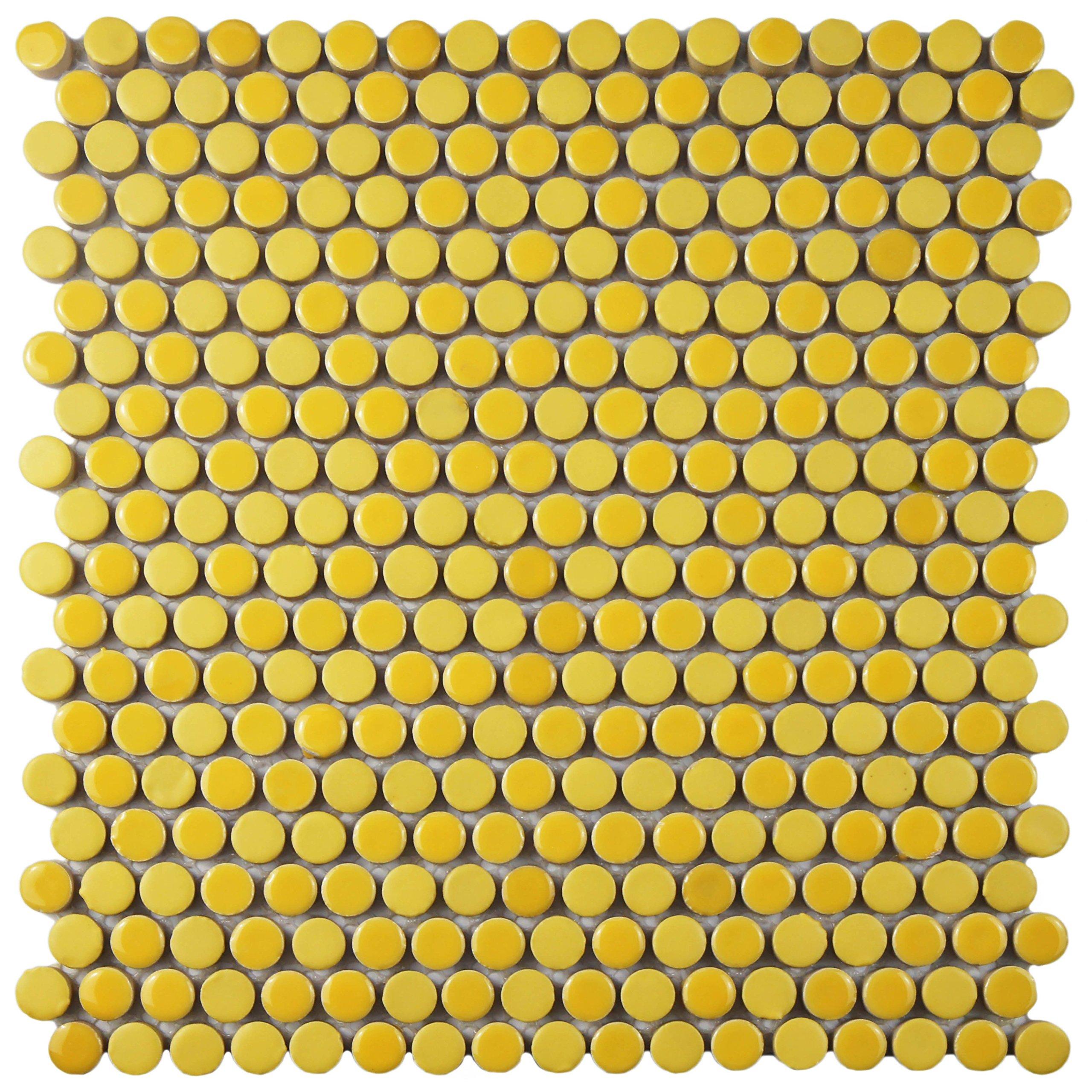 SomerTile FSHCOMYL Juno Penny Round Porcelain Floor and Wall Tile, 11.25'' x 11.75'', Yellow