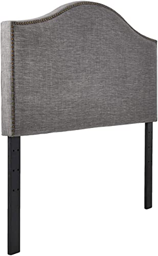 Ravenna Home Haraden Modern Curved-Top King Headboard, 82 W, Grey