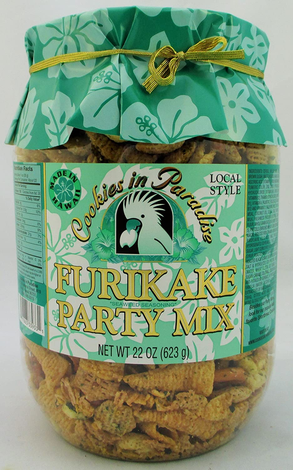 Hawaiian Local Style Furikaka Party Mix in Family-Size 22 Oz. Container