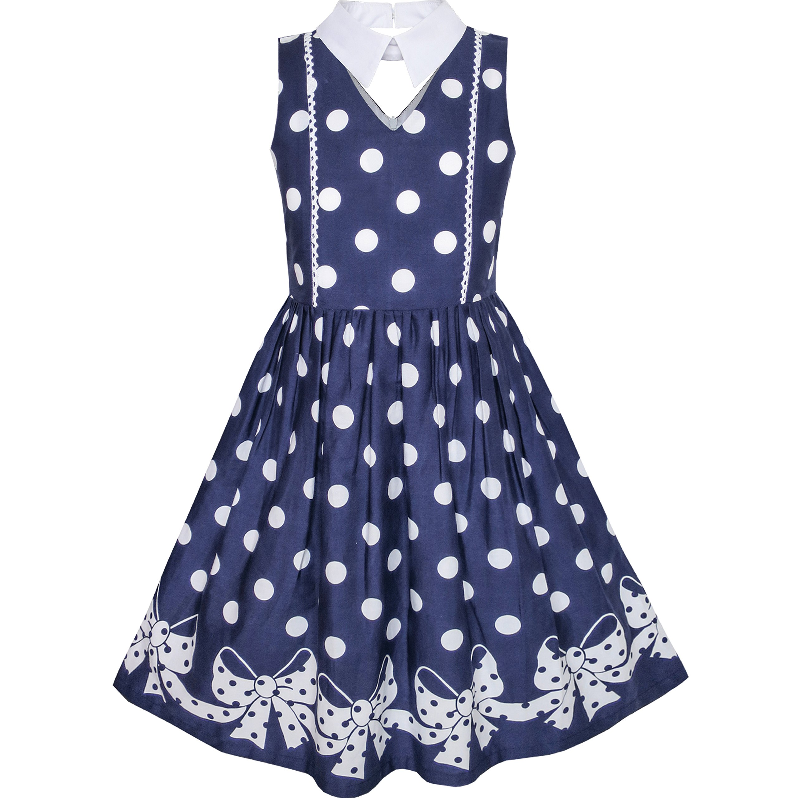 KZ85 Girls Dress Blue White Polka Dot Bow Tie Collar School Size 12