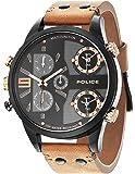 POLICE - P14374JSB-02 - Montre Homme - Quartz - Analogique - Deux fuseaux horaires - Bracelet cuir Marron