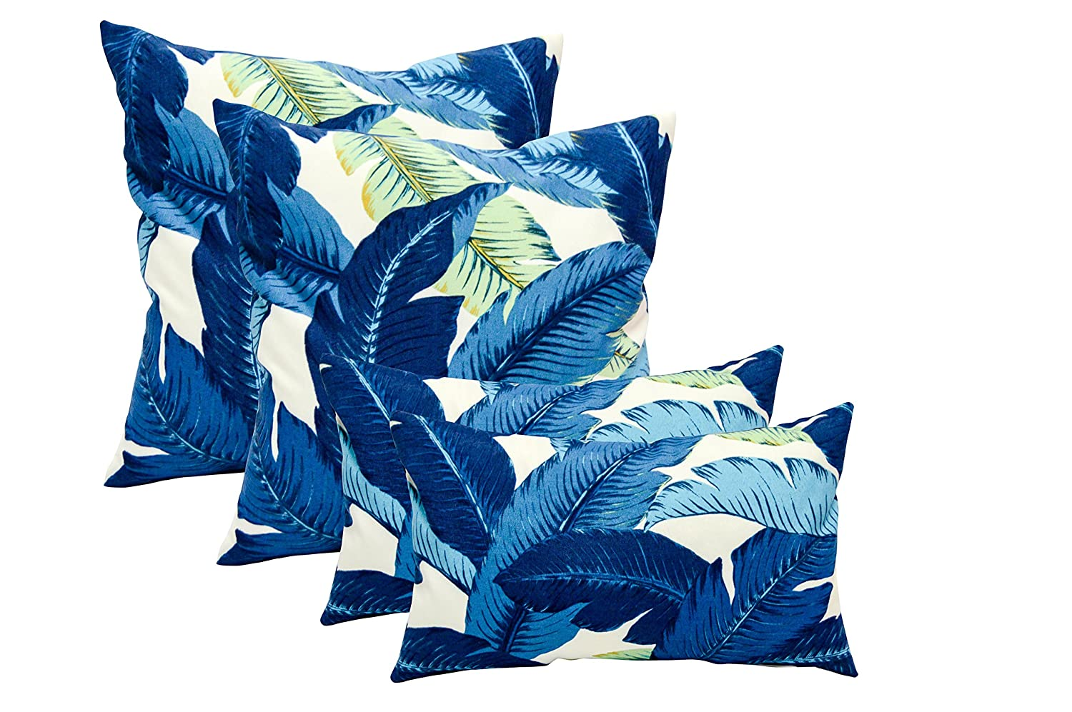 RSH DECOR Set of 4 Indoor Outdoor Pillows – 17 Square Throw Pillows Rectangle Lumbar Decorative Throw Pillows – Made with Tommy Bahama Swaying Palms – Escape Blue Fabric