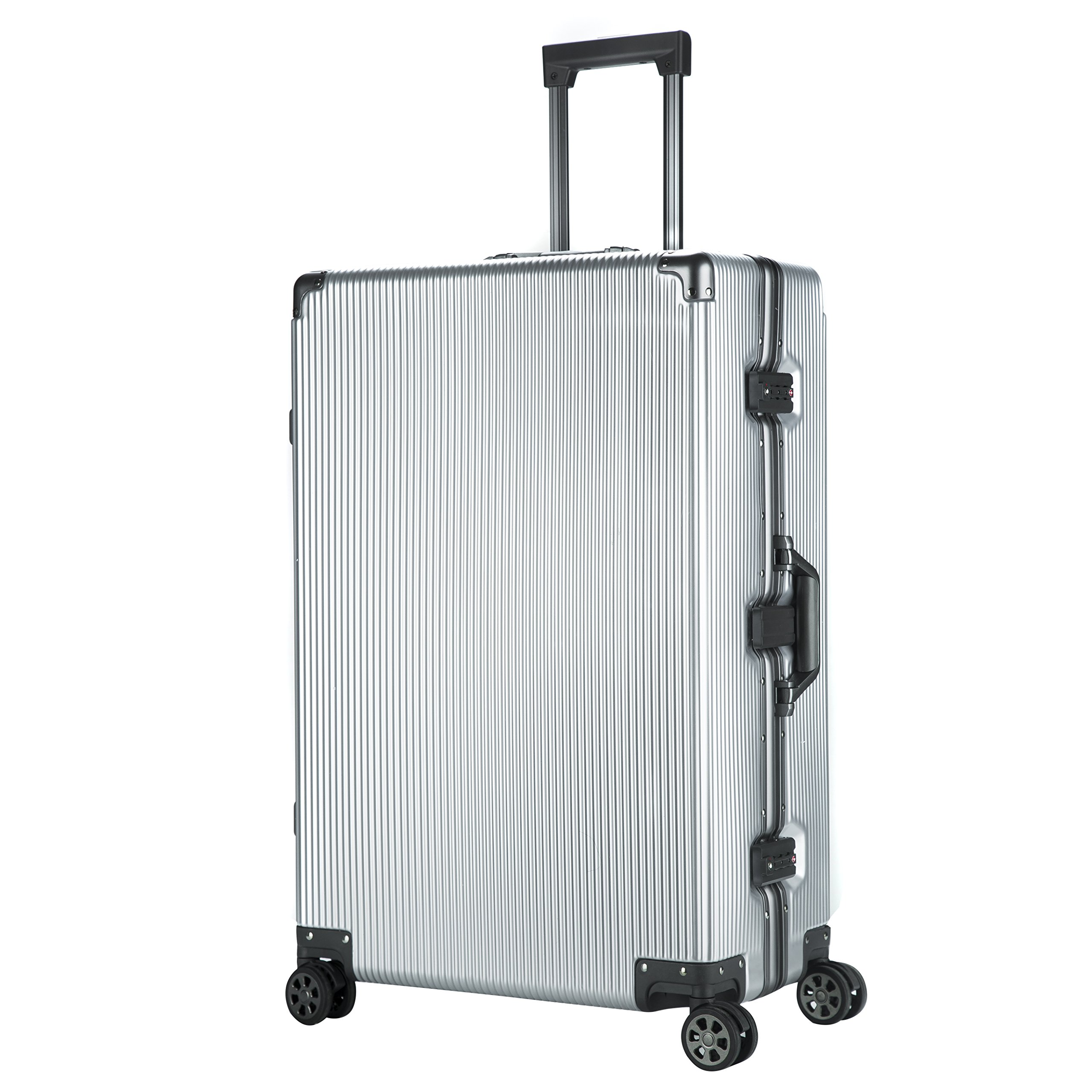 Aluminum Frame Luggage Hardside PC TSA Approved Spinner Suitcase 28'', Silver