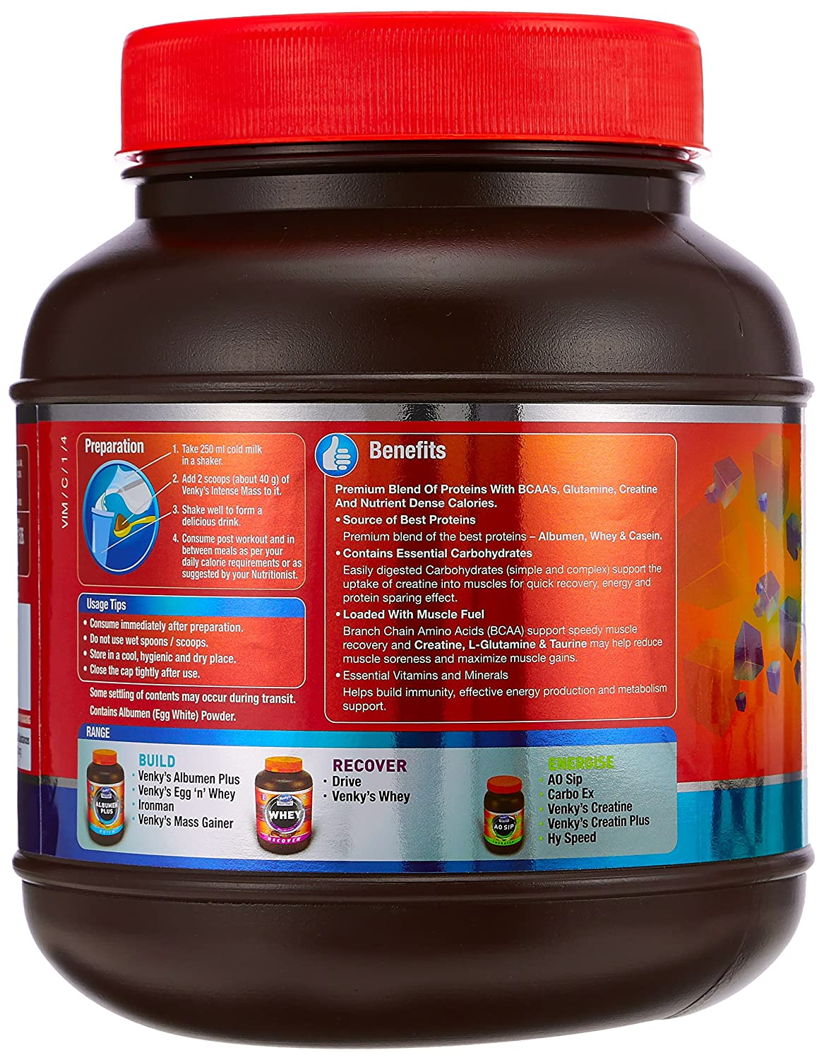 e68f80ffb Venky s Intense Mass - 1 kg (Chocolate) With Free 400 ml Plastic Jar   Amazon.in  Health   Personal Care