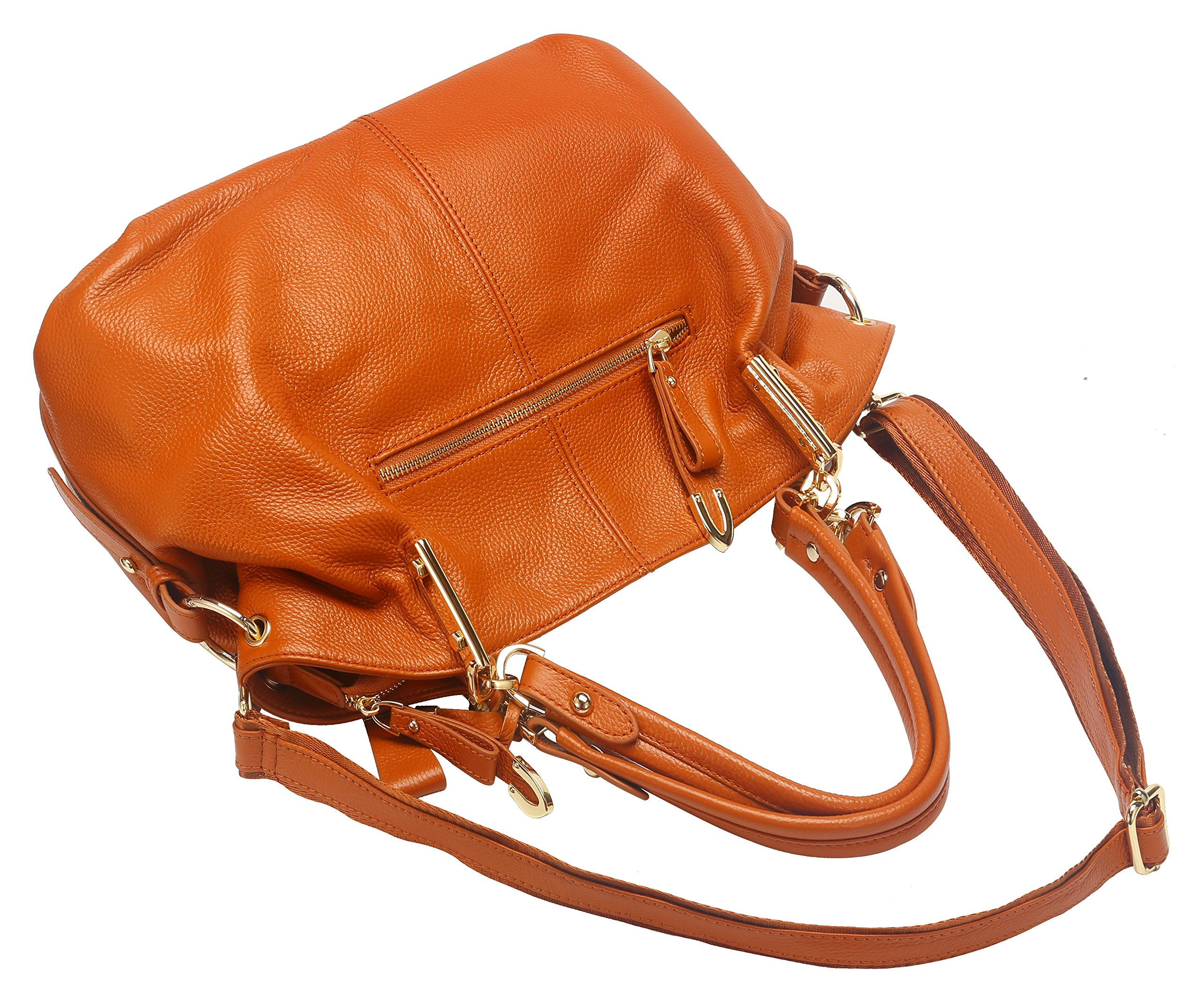 Obosoyo Women's Handbag Genuine Leather Tote Shoulder Bags Soft Hot Brown